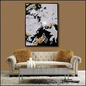 ABSTRACT PAINTING Modern Canvas Wall Art Large BLACK FLOATER FRAMED US ELOISExxx