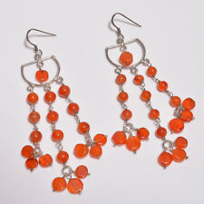 Carnelian Dangling Earrings Sterling Silver Solid Handmade (AGBF)