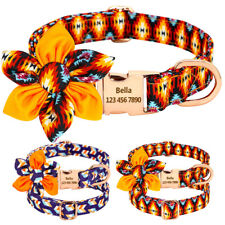 Adorable Nylon Small Large Dog Collar Side Release Buckle Name Engraved for Free