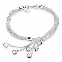 Cadena de pulsera de plata de ley 925 para mujer unisex talla ajustable L15