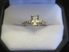 1.36 cts Csarite & White Zircon 10K Gold Ring Size 10