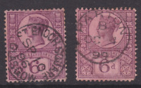 GB. QV. 1887. SG 208, 6d PURPLE/ROSE RED. Superb CDS X2 (HF91)