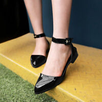 Women Patent Leather Low Block Heel Pointy Toe Slingback Pumps Sandals Shoes N-4