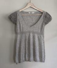 Comptoir Des Cotonniers Silk & Wool Blend Short Sleeve Sweater Gray Size Small