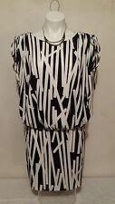 LONDON TIMES Women's Black & White Absract Print Drop Waist Dress Size 10