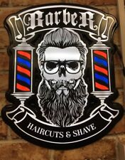 Barber Shop Wall - Window Sign, Modern Skull Style LED LIGHTS, FREE POSTAGE ++