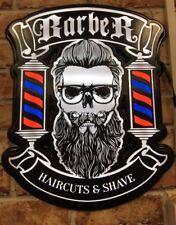 Barber SHOP Wall-Finestra Segno, moderno stile Cranio luci LED, spedizione gratuita + +