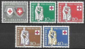 Switzerland 1957 Mint Hinged 5v, Red Cross