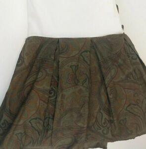 """RARE Ralph Lauren WEST HIGHLAND King Bedskirt Olive Paisley 16"""" Drop Dust Ruffle"""