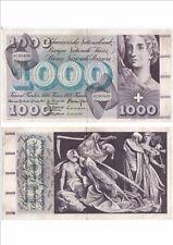 SUISSE SWITZERLAND SWISS SCHWEIZ 1000 Frs 01-01-1967 très rare état voir scan
