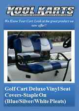 Club Car Precedent Golf Cart Custom Seat Covers-Front and Rear(Tri-Color w/Plts)