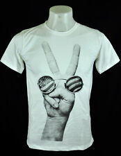 Sign Peace John Lennon Rock Punk White Crew Tee T-Shirt L