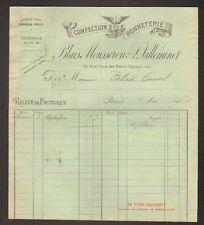 """PARIS (I°) USINE de BONNETERIE & CONFECTION """"BLAIS MOUSSERON & VILLEMINOT"""" 1904"""