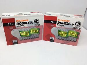 Set Of 2 Sylvania 75W 120V Soft White Double Life 8 Pack A19 LIght Bulbs SEALED