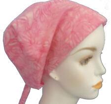Pretty Pink Batik Cancer Chemotherapy Hat Alopecia Hair loss Cotton Scarf Turban