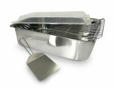 NEW Lasagna Roaster Serving Pan 4 Piece Cover Spatula Stainless Steel Kitchen