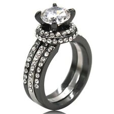 Size 5 6 7 8 9 10 11 Black Wedding Engagement Anniversary Propose Ring Bridal