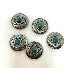 Southwestern Style Star Silver Tone Simulated Turquoise Button Covers Set of 5