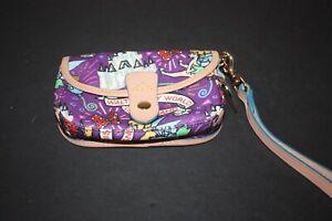 Dooney & Bourke Disney Mickey Mouse Purple Coated Canvas Leather Wristlet