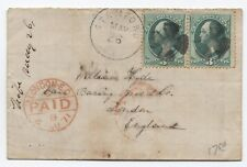 1871 Stamford CT fancy cancel on 3ct banknote pair cover to England [y1517]