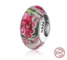 Murano Glass Red Flower Charm Genuine Sterling Silver 925 Fits European Bracelet