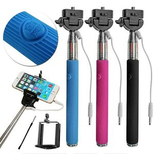 Extendable Monopod Selfie Stick  Built in Wireless Remote Mobile Phone holder