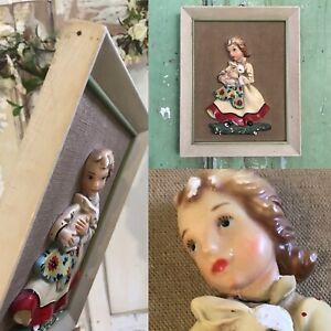 Vintage 3D Old Chalkware Plaster 1950s ITALIAN Decorative Picture Wall Plaque