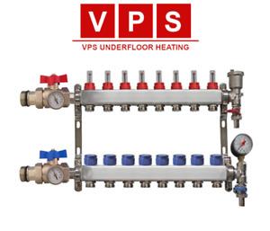 8-port Underfloor Heating Manifold with Eurocones, Valves & Gauges