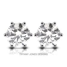 04ed58717 0.64 TCW F-SI3 Exc Round Natural Diamonds 14k Gold 6-Prong Setting Earrings