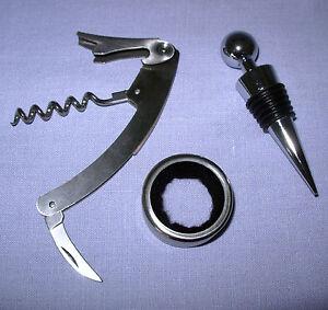 New 3 pc Corkscrew Set w Wine Opener Stopper Collar gift in tin box  iMounTEK