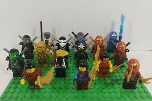 15 Lego Ninjago Minifigure Mixed Lot Kai, Lloyd, Zane, Nya, Jay, Cole w/ Weapons
