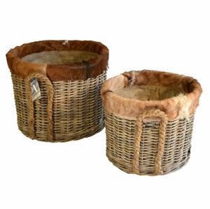 Kubo Buff Grey Log Baskets With Goat Skin Trim Lined on Wheels Jute Liner Rope