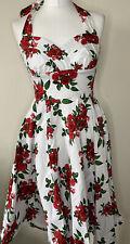Hell Bunny Vixen Rose Print 1950s Estilo Halter Vestido Talla XS de estilo vintage y retro