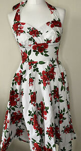 Hell Bunny Vixen Rose Print 1950s Style Halterneck Dress Size XS Retro Vintage