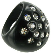 Large Black Lucite and Rhinestone Cocktail Ring Size 11