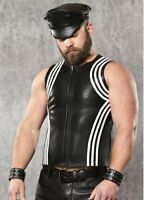 Genuine Leather Vest Sleeveless Shirt Front zip Stripes Racing Fitted Kink Biker