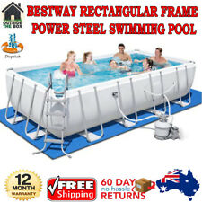 Bestway Rectangular Frame Power Steel Above Ground Swimming Pool 3ply Side Walls