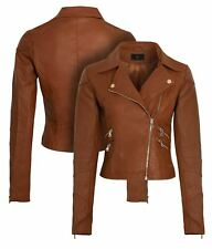 Womens Faux leather Biker Jacket Ladies Brown Tan Coat Size 16 8 10 12 14 New
