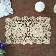Beige Vintage Hand Crochet Cotton Lace Doily Rectangle Table Place Mat 27x43cm
