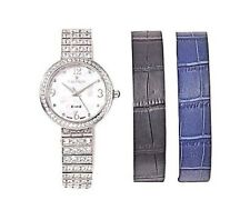 Croton Interchangeable Silvertone and Leather Straps Bracelet Watch
