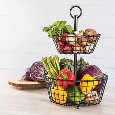 Two-Tier 2 Tier Handcrafted Metal Wrought Iron Storage Basket by Giftburg - New!