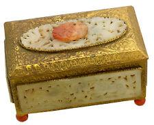 Beautiful Chinese Carved Jade & Carnelian Stone Gilt Box