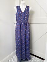 Banana Republic Blue Purple Paisley Cinch Tie Sides Lined Maxi Dress Women's S