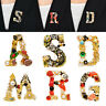 Luxury Pearl Crystal Letter Brooch Pin Women Wedding Bride Charm Jewelry