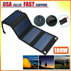 100W USB Solar Panel Folding Power Bank Outdoor Camping Hiking Phone Charger Kit