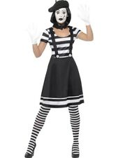 Smiffys Adult Women's Lady Mime Artist Costume Dress Collar Beret Gloves TI