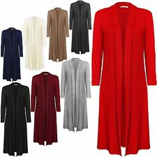 NEW LADIES COLLARED LONG SLEEVE JERSEY OPEN MAXI JERSEY CARDIGAN PLUS SIZE 16-24