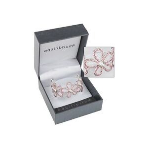 New Equilibrium Sparkle Silver Plated Flower Bangle Bracelet in Pink or Clear