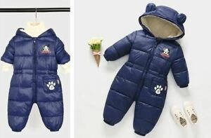 Baby Ski Snow Suit All-In-One Puppy Dog Water Repellant Navy Snowsuit Size 0