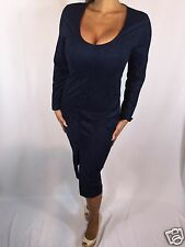 Connie's Long Sleeve Scoop Neck Faux Suede Dark Blue Midi Dress w split S/M